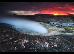 Steam and Fire - Hrafntinnusker, Iceland (orvaratli) Tags: mountain snow hot ice water rock landscape iceland laugavegur spring warm hiking steam crater hotspring geothermal icelandic landmannalaugar hrafntinnusker eyjafjallajkull torfajkull fjallabak arcticphoto rvaratli orvaratli