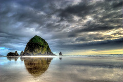 Pinnacle (markofphotography) Tags: sunset reflection beach water clouds oregon pacificocean cannonbeach haystackrock markcullen markofphotography