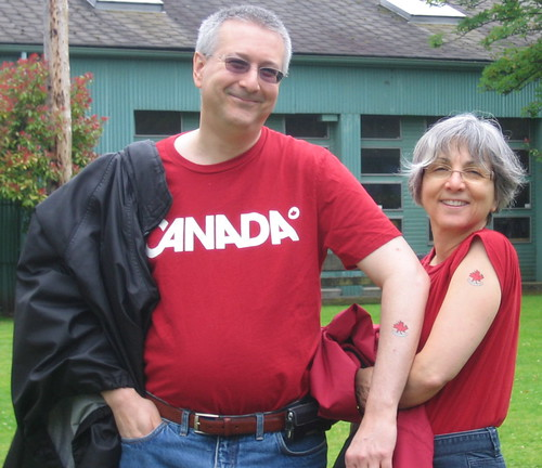 Pam and I show off our Canada Day Tattoos