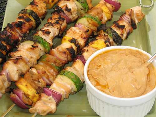 Chicken Satays With Red Curry Peanut Sauce