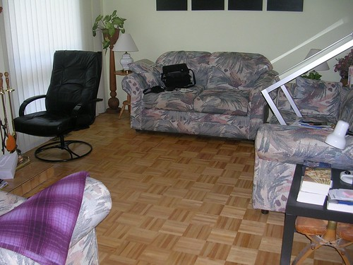 living room with no carpet