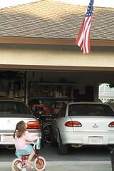 Kyra Looking at the Flag