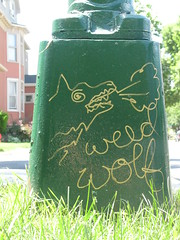 Weed Wolf in the Grass (silverfuture) Tags: streetart graffiti tag lamppost logansquare weedwolf