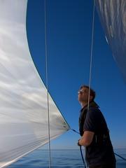 Spinnaker (Peter Lindroos) Tags: blue sunset sea finland boat swan sailing bluesky calm balticsea sail mast spinnaker tarantella canons90 hangösandhamnrace2010