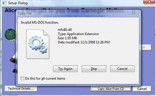 What does Invalid MS-DOS function mean? Image attached