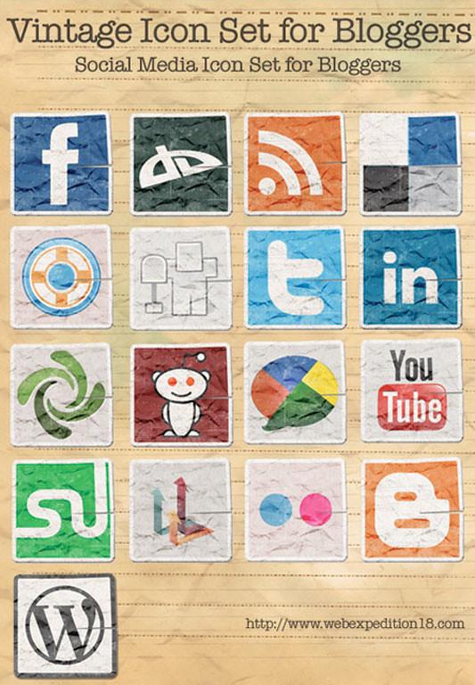 Vintage Icon Set para Bloggers