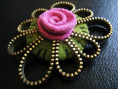 Pretty pink rose (woolly  fabulous) Tags: flower wool rose sweater pin recycled brooch felt zipper