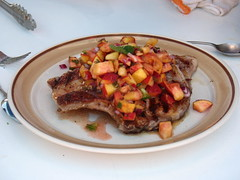 Pork chop with peach salsa