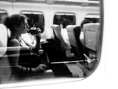 333/365: 新幹線 (joyjwaller) Tags: travel blackandwhite selfportrait reflection me girl japan transit distance 新幹線 shinkansen highspeed bullettrain bootycall project365 makinmumanddadproud