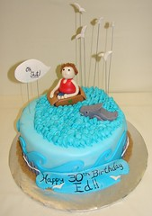 Jaws 30th Bithday Cake (JMC Custom Cakes) Tags: ocean blue red seagulls white green yellow cake fence golden shark sand waves box chocolate gray cardboard jaws swimmer cape 30th cod bithday fondant buttercream ganche