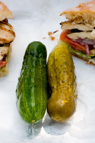 Sour and half-sour pickles, Guss' Pickles via Friedman's Lunch