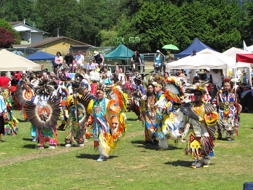 Squamish Nation Pow Wow 2010 Native Dance at Capilano Indian Reserve Park, Pow Wow Dancers on Grass