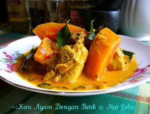 Kari Ayam Dengan Betik