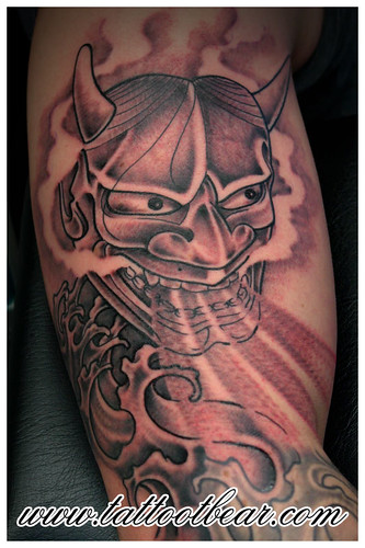 kolibri tattoo. Tattoo Japanese oni mask by