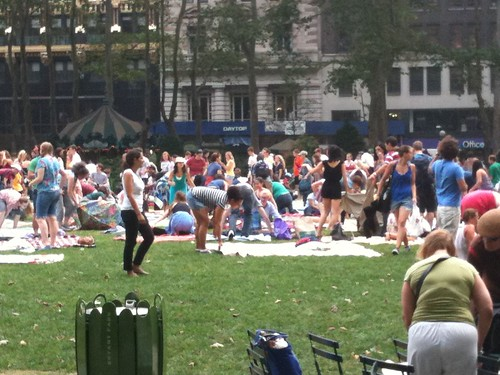 Bryant Park before a film