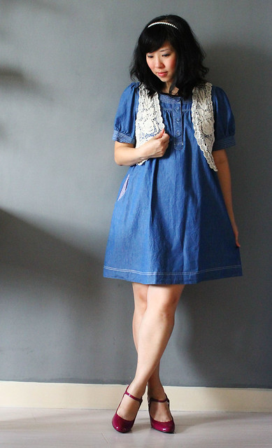 Denim Dress + Lace Vest