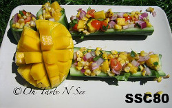 SSC80-Grilled Corn & Mango salad in Cucumber Boats/Cups