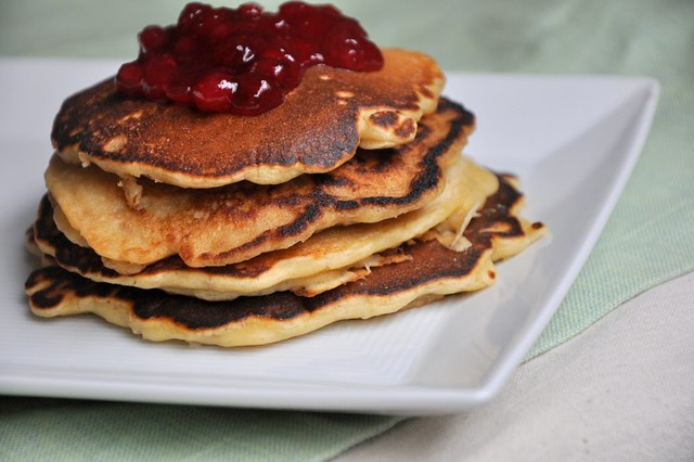 4807650084 d1a794e0aa z Oatmeal Pancakes with Lingonberry Jam (from Good to the Grain)