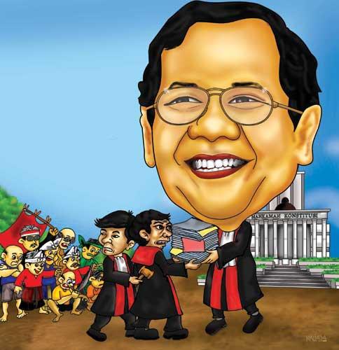 karikatur wajah mahfud MD. ketua mahkamah Konstitusi MK