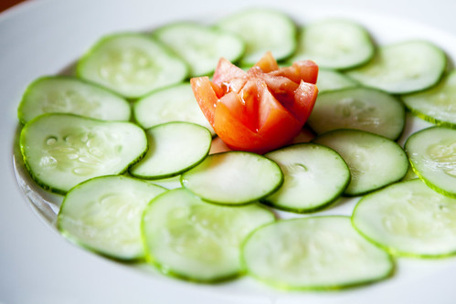 Sliced homegrown cucumber and tomato