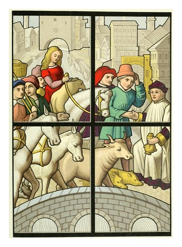 008-El peaje-vitral siglo XV Catedral de Tournai-Le moyen äge et la renaissance…Vol III-1848- Paul Lacroix y Ferdinand Séré