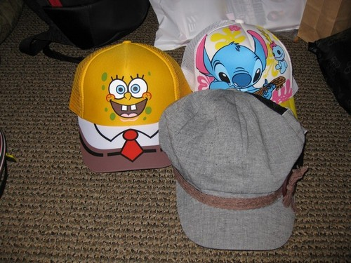 spongebob squarepants hat, lilo and stitch