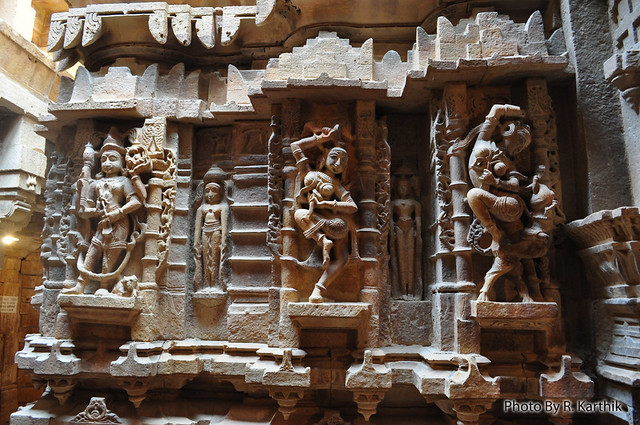 Intricate stone work inside Jain Temple