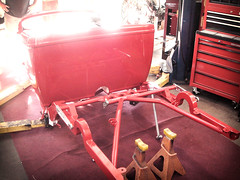 Painted body first sits on powdercoated frame (Raybestos Brand) Tags: hot up rod pick build 32 hollywoodhotrods raybestos troyladd