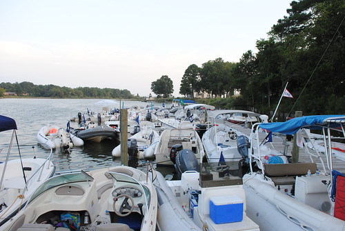 SOME OF THE 50+ COACH BOATS RAFTED AT DELTAVILLE MARITIME MUSEUM DOCK!