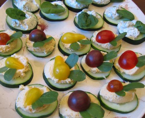 cucumbers w/ goat cheese & w/ hummus & tomatoes