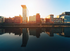 Medienhafen Reflection (Philipp Klinger Photography) Tags: blue light sunset summer sky orange sun reflection building water architecture backlight facade port canal back warm counter harbour north nrw kanal dsseldorf rhine rhein philipp nordrheinwestfalen westfalen medienhafen counterlight nordrhein klinger northrhinewestphalia rhinewestphalia colorium dcdead vanagram