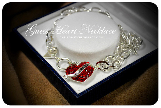 GUESS Red Crystal Heart Necklace