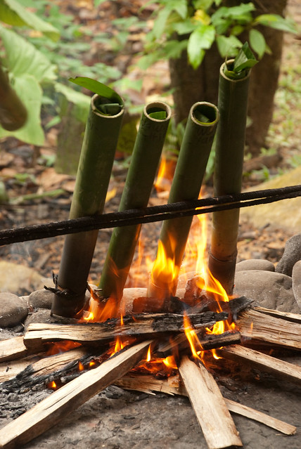 Cooking the food in bamboo