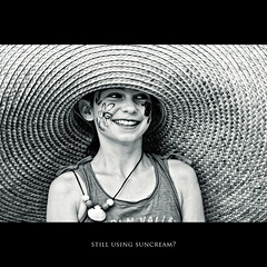 [104/365] still using suncream? (mbecher) Tags: flowers portrait people flower girl smile face hat kids germany fun nikon europe paint d70 circles straw laugh sombrero bielefeld kila paulina sommerfest kinderladen kolamilch mbecher kinderladenwittekindstr