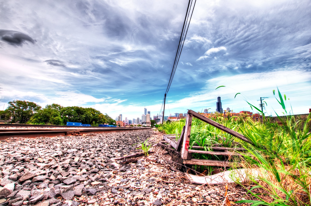 A railroad track in the West Loop.