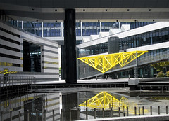 Banking District Reflection - Architecture, Stuttgart, Germany (Batikart ... handicapped ... sorry for no comments) Tags: street city bridge blue roof light shadow summer sky urban sun white house money black color colour detail reflection building art window water fountain glass yellow metal architecture modern stairs canon germany geotagged deutschland design triangle colorful europa europe stuttgart geometry path district sommer fenster perspective stripe bank symmetry line moderne diagonal stadt architektur column railing curve financial reflexion spiegelung gebude glas bankenviertel stole 2010 diagonale badenwrttemberg sule swabian canonpowershota610 100faves 50faves viewonblack batikart