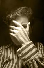 Criminal minds (ludicrouslouisa) Tags: stripes paintedhand prisonuniform handacrylicpaintshirtfaceeyesgirlbrunetteyoungwoman