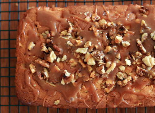 Toffee, apple & walnut loaf cake