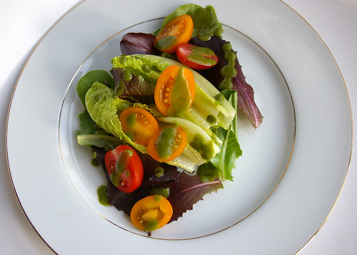 Simple salad with Basil Vinaigrette