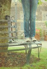 bench monday ~ dirty knees (Suzi Marshall) Tags: bench thankyou jeans converse monday chucks villagegreen texturebylesbrumes