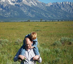 The boys walking back, through the brambles (elayne_crain) Tags: nick meadow antelope benjamin wyoming grandtetons