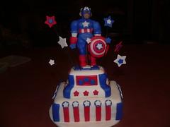 Captain America Cake (Taylor-Made Cakes) Tags: birthday cake unique oneofakind superhero custom captainamerica birthdaycakes fondant taylormade