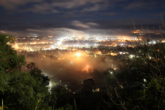 Tamworth under the blankets (Rory OBrien) Tags: mist fog night clouds town timelapse streetlights lookout blanket tamworth 550d