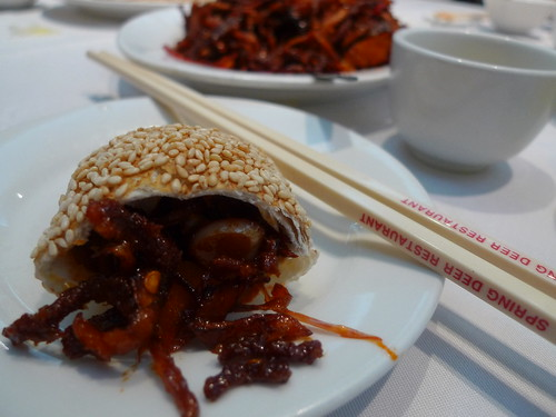 Spring Deer:  Spicy shredded beef in sesame pockets