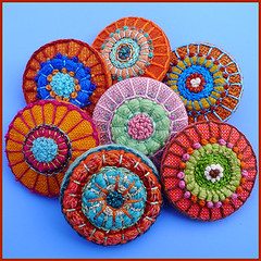 Embroidered buttons (Birthine) Tags: freestyle handmade embroidery buttons mandala button stitching bordado sticken stickerei broderie borduren knapper broderi unika brodera embroideredbuttons birthine broderedeknapper