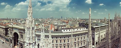 Panorama vom Mailänder Dom in nördliche Richtung.