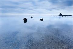 Saltwick Bay (dougchinnery.com) Tags: blue sea sunrise grey dawn bay coast seaside rocks yorkshire overcast minimal east minimalism minimalist nab saltwick
