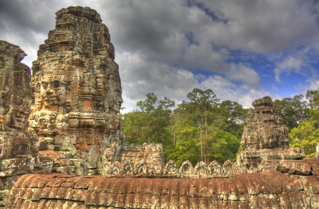 Angkor Wat Faces Trees HDR