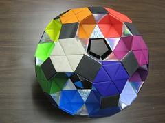 Rotunda-drilled-great-rhombicosidodecahedron (Origami Tatsujin 折り紙) Tags: art colors paperart origami geometry multicolored papiroflexia papercraft papercrafts polyhedra modularorigami geometricbeauty geometricart colorfulart