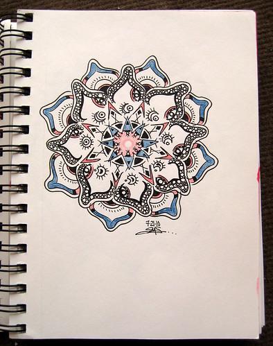 Red & Blue Doodle Mandala